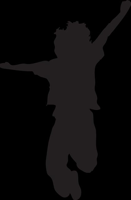Happy Kid Silhouette Jumping Free Image 43562 Kids Silhouette Silhouette Art Silhouette Painting