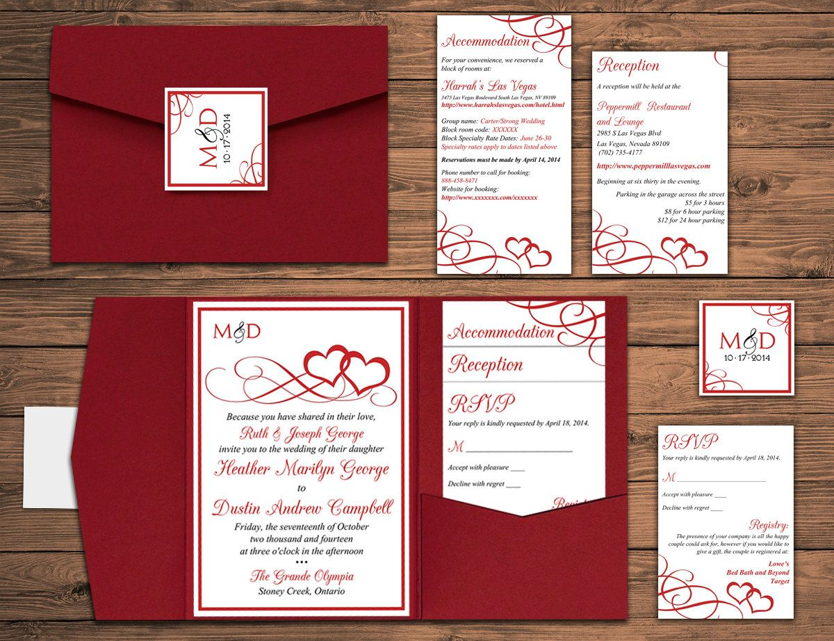 DEPOSIT: Heart Wedding Pocketfold Invitation Suite - Red Heart ...