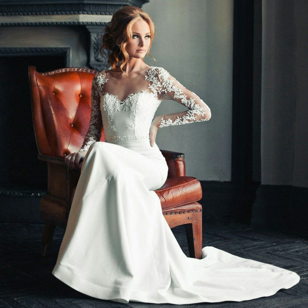 Lace mermaid wedding dresswedding dress long sleeve bridal gown