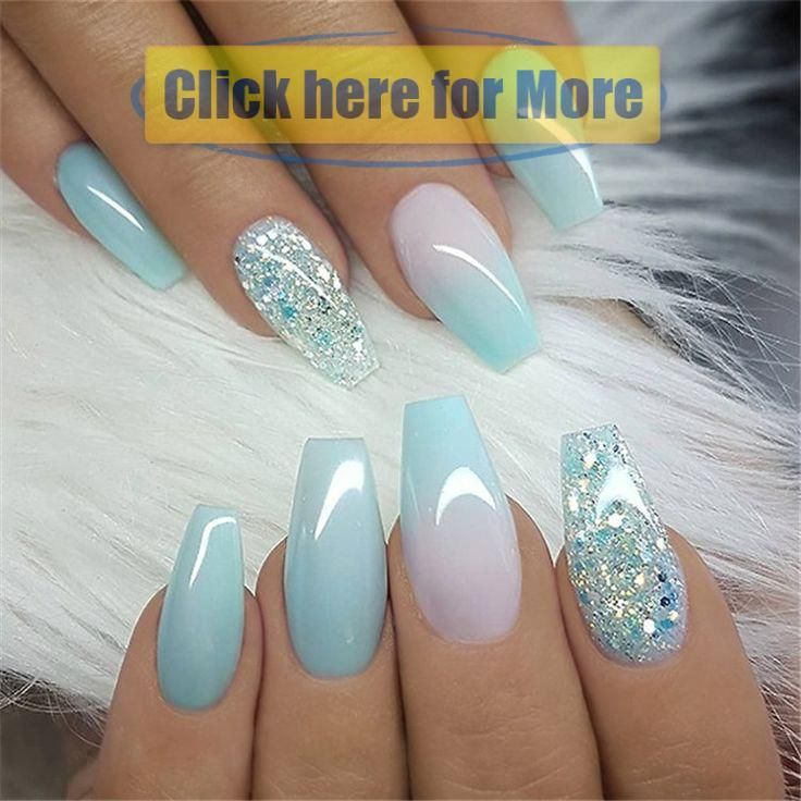 Winter Acrylic Green and Blue Glitter Coffin Nails From Nature  nail it