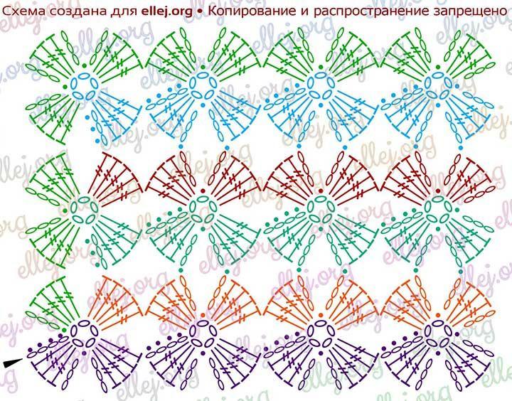 Clover stitch • Unseparated crochet   Häkelmuster, Tücher und Muster