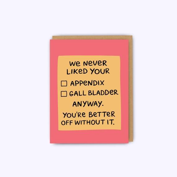 Appendix sympathy card, gall bladder card, funny get well card, get well soon, feel better, bad day
