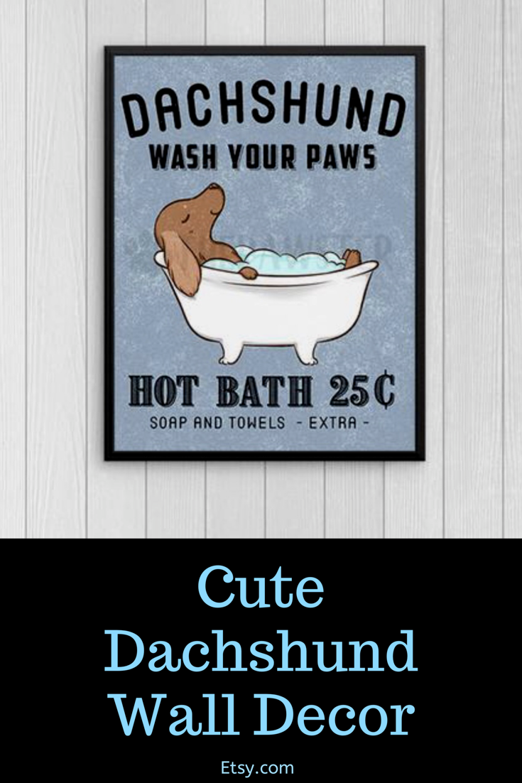 Dachshund Bathroom Wall Decor Wiener Dog Funny Bathroom Art Etsy Dog Bathroom Dog Bathroom Decor Funny Bathroom Art