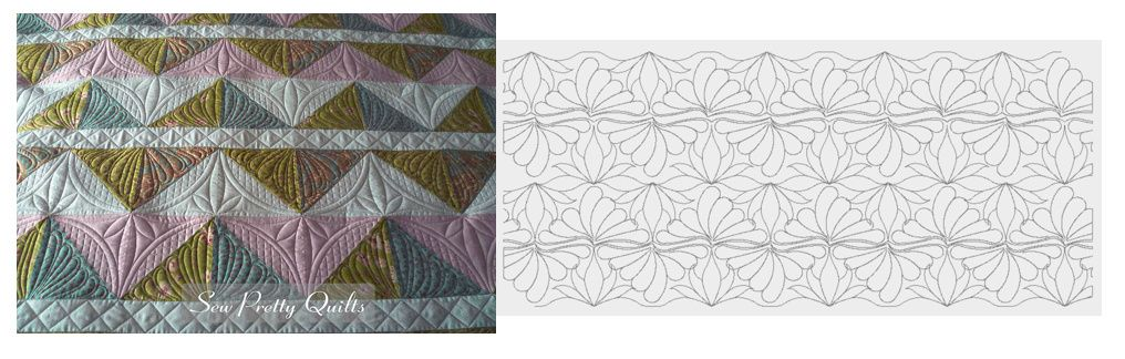 Something like this:  as easy as point to point triangles just flipped (mirrored) and stitched.  Beautiful quilt, simple quilting.