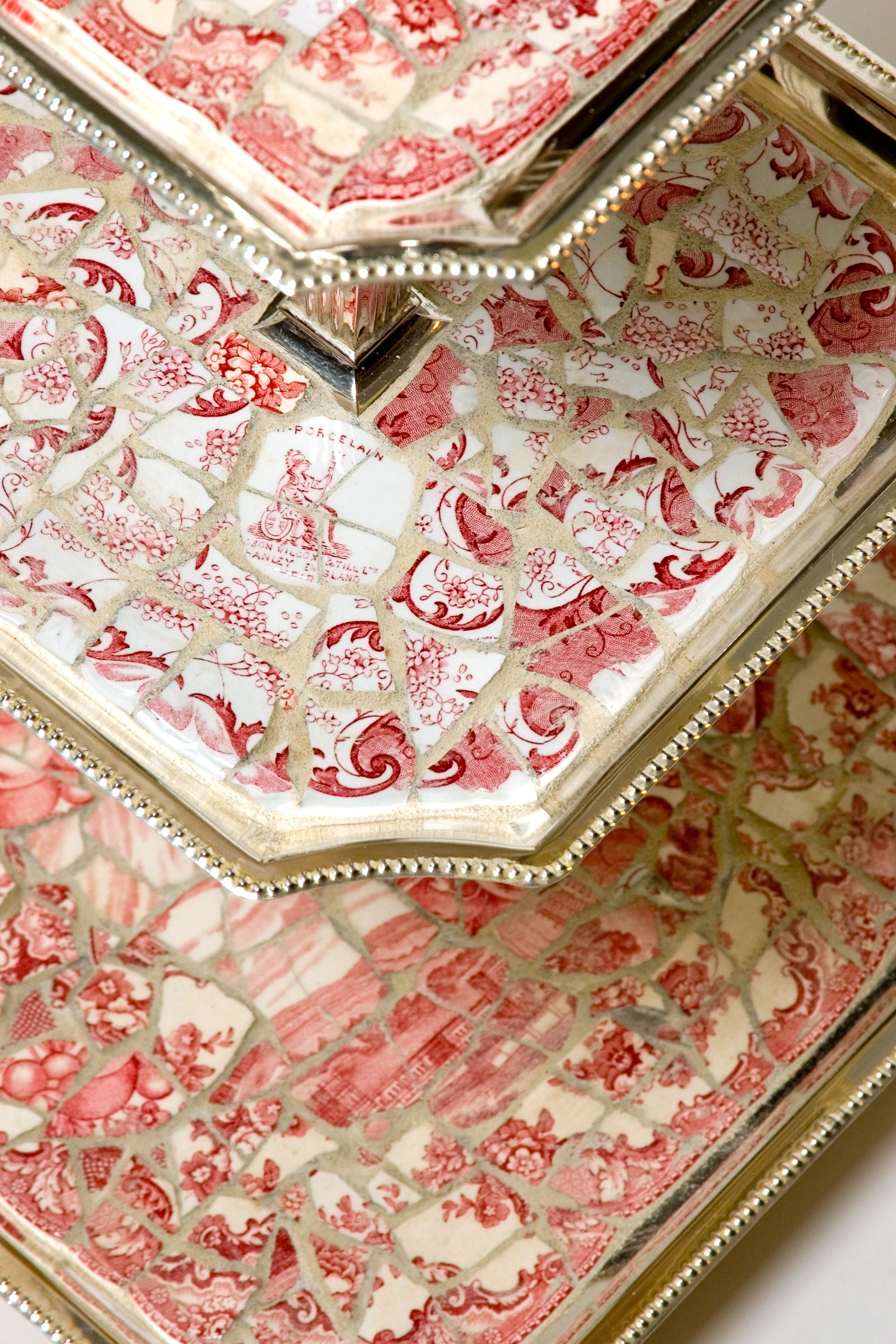 19th Century Red & White Transferware Mosaic 3-tier Antique Silver Server Nancy . Sold