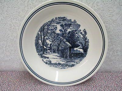 "Ceramic Pie Plate Winter Scene in Blue & Ivory 9"" x ¼"" Vintage"