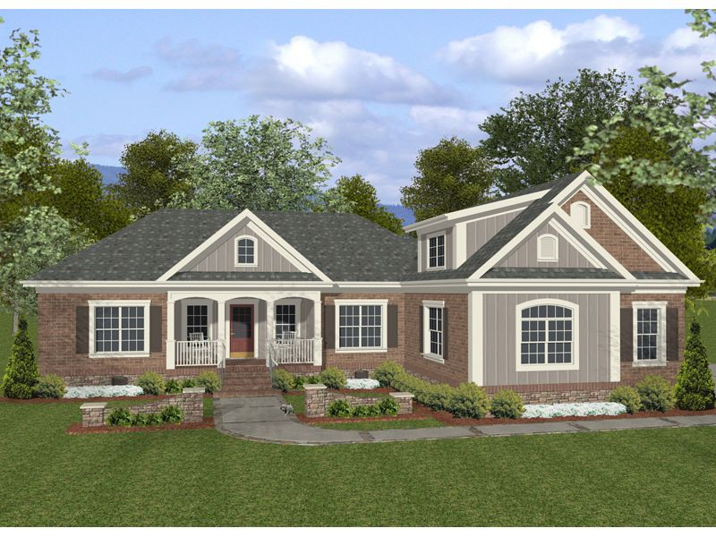 Woostock ranch home ranch vertical siding and brick ranch for Ranch style house plans with garage on side