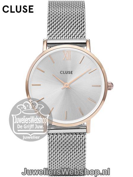 Cluse Horloge Minuit CL30025 Mesh Rose Gold Silver.  fe7a05acef3