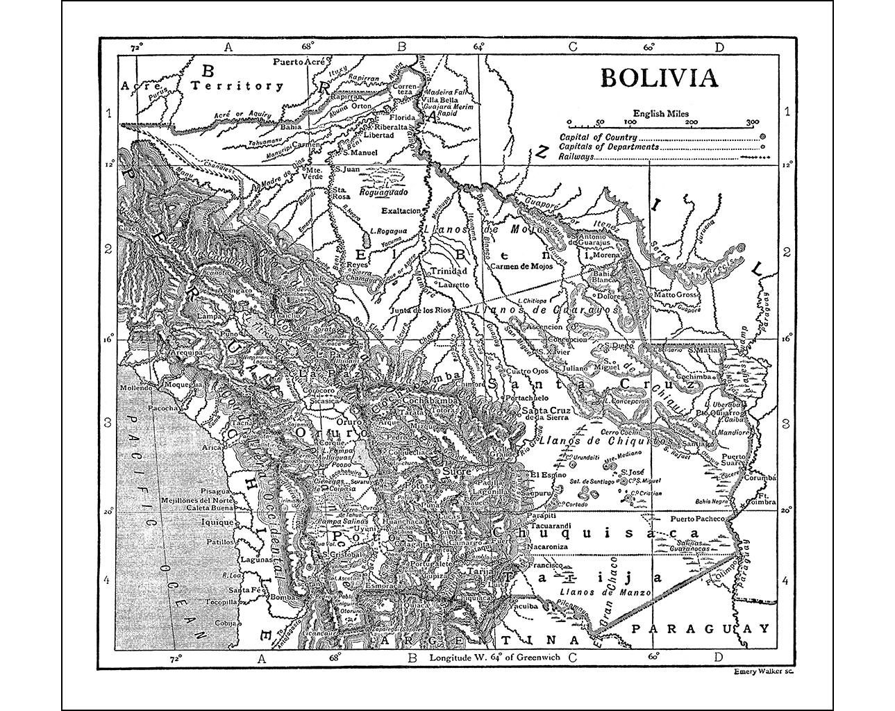 Bolivia instant download pre world war i antique map monochrome bolivia instant download pre world war i antique map monochrome santa cruz gumiabroncs Image collections
