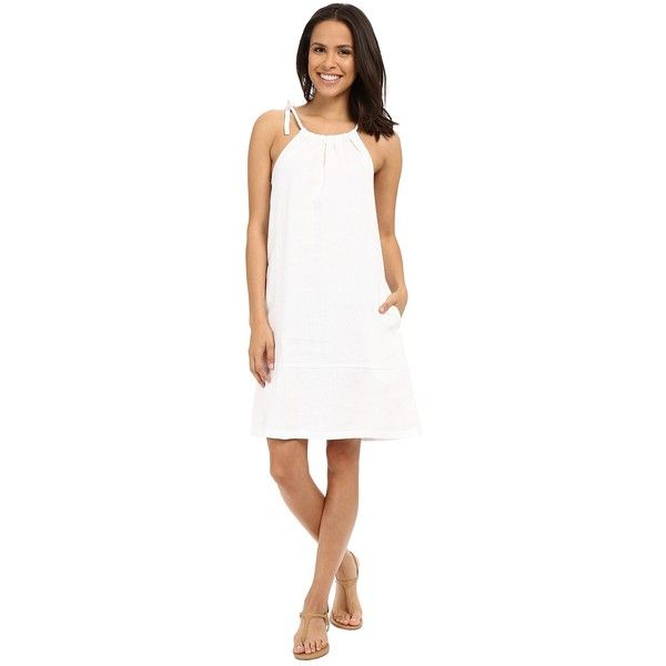 Tommy Bahama Two Palms Halter Sundress (White) Women's Dress ($95) ❤ liked on Polyvore featuring dresses, white shift dress, sleeveless shift dress, halter dress, white linen sundress and halter sundress