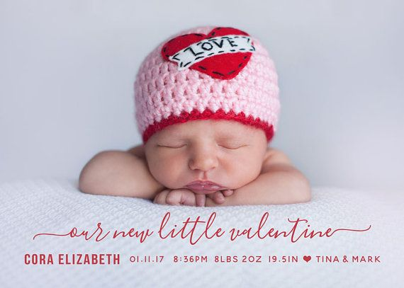 12 Valentine Birth Announcements to Fall in Love With – Valentine Birth Announcement