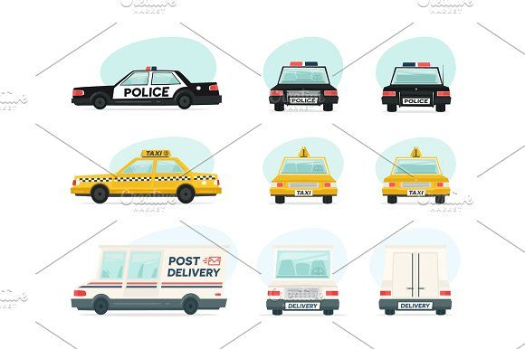 Set Of Cartoon Ambulance Police And Yellow Taxi Car Delivery Law And Aid Symbol Vector Auto Trailer And Van Design Template Isolated Objects On White Back Van Design Yellow Taxi Design