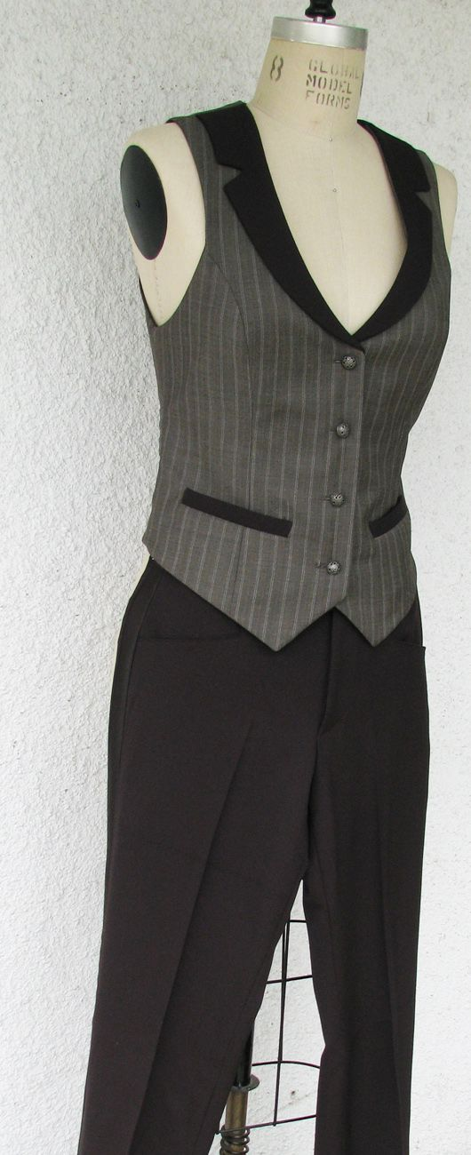 Women's Three Piece Suits and Vests – Denver Dressmakers - Studio Stretch Faux Double-breasted Vest - Women's Suit Jackets
