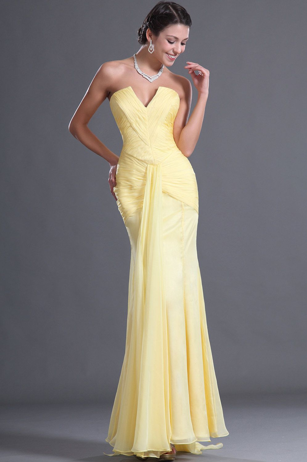 Edressit adorable v cut yellow evening dress w dresses