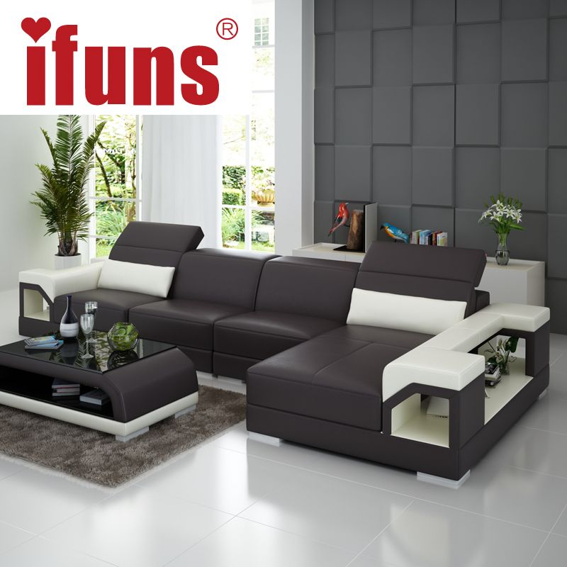 Living Room Furniture IFUNS Brillancy Orange Genuine Leather Corner Sofas Modern Design L Shape