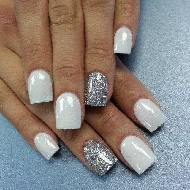 White Shimmer Nails Silver Acrylic Nails White And Silver Nails Silver Nails