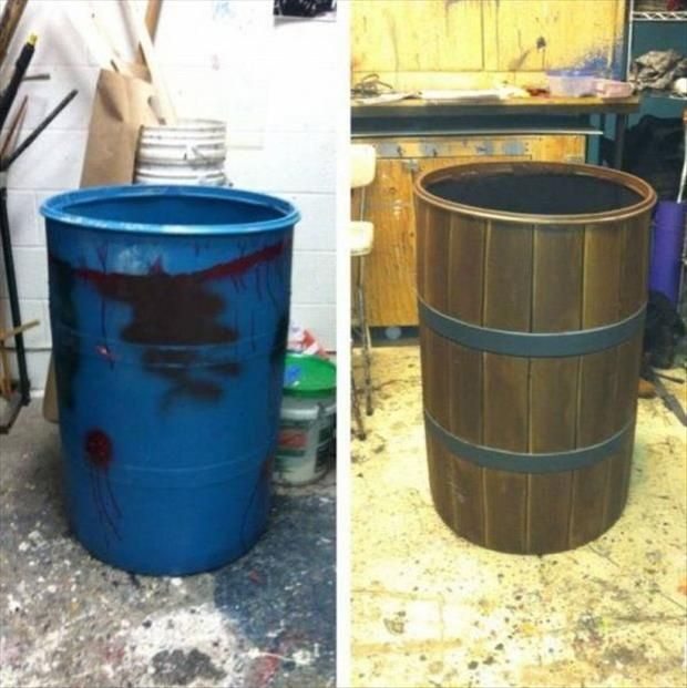 Dress Up The Party Trash Can Dump A Day Simple Ideas That Are Borderline Crafty 40 Pics Plastic Barrel Ideas Barrels Diy Diy Inspiration