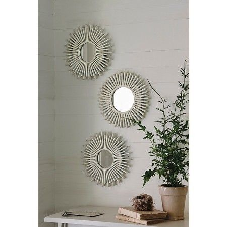 Starburst Washed Wood Mirror 3 Pack Threshold Target Wood Mirror Small Round Mirrors Accent Mirrors