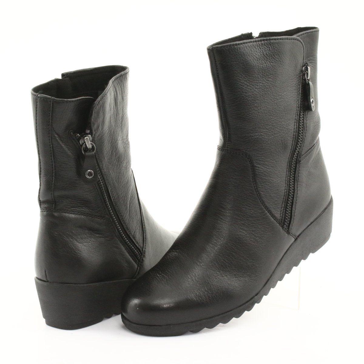 Caprice Botki Na Koturnie Czarne Boots Black Wedge Shoes Womens Boots