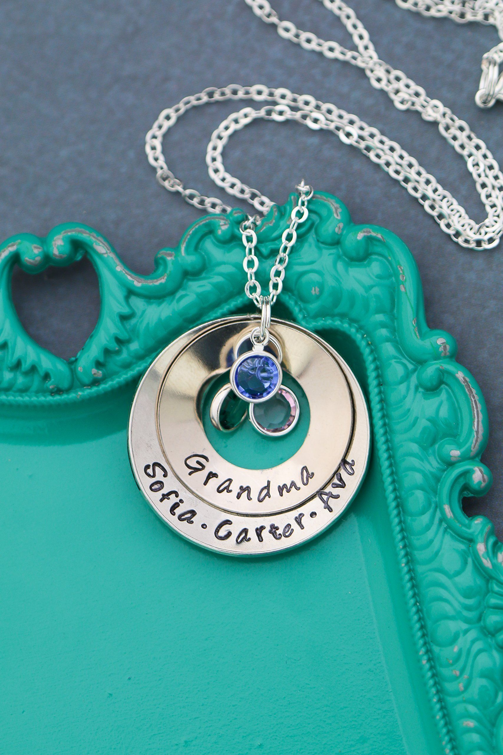 Cupped grandma necklace dii abc grandmother gift