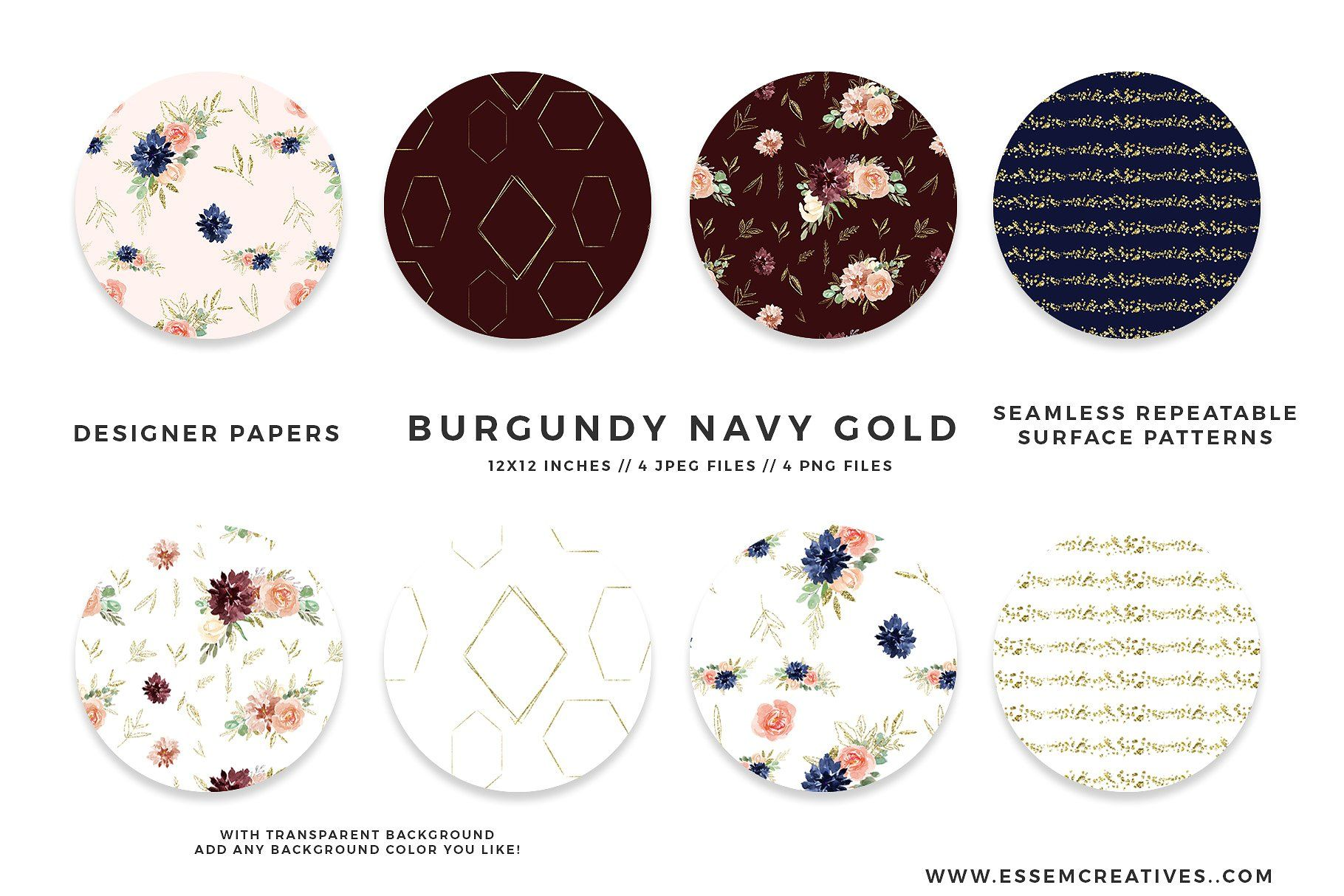 Burgundy Navy Gold Watercolor Floral Gold Watercolor Floral