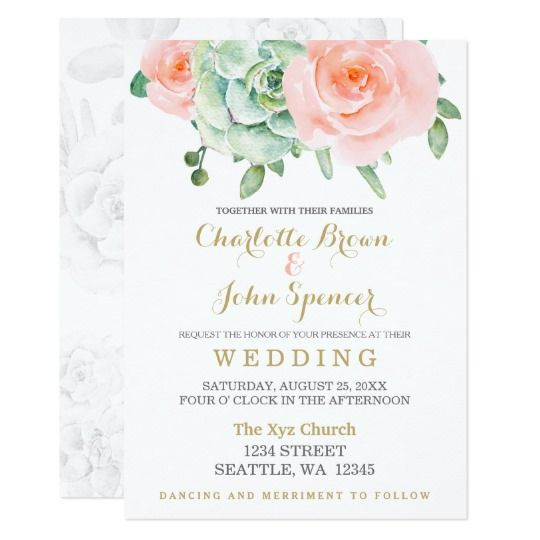 Beautiful watercolor succulent and peach roses with gold accent wedding invitations.