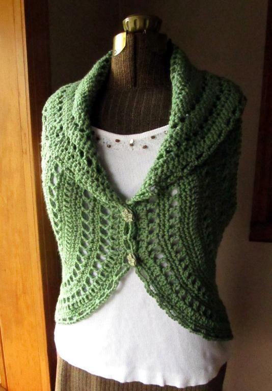 (4) Name: 'Crocheting : Crochet Ladies Circle Vest or Shrug