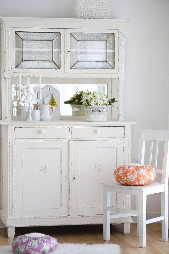 Antiker Kleiderschrank mit Spiegel, shabby chic schrank, antiker - badezimmerschrank mit spiegel