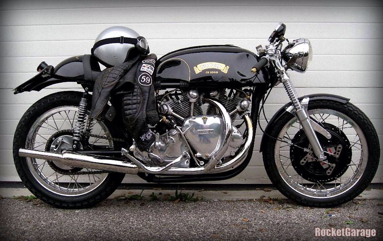 retro Old School Cafe RacerChopper S negro Guantes de piel para moto