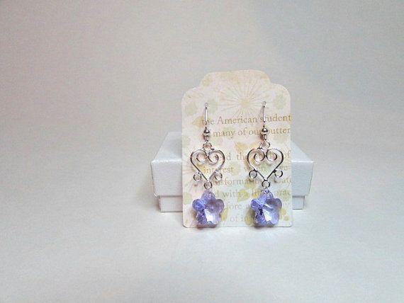 Earrings handmade flower Swarovski crystal by BedazzledbyDebi
