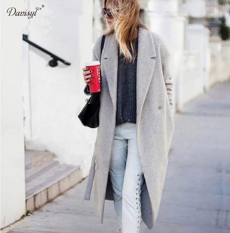 Femmes Élégant Style Long manteau Chaud Laine Oversize Solide Manteaux  Cachemire Tranchée Manteaux Dames Casual X long Gris de laine Outwear dans  Laine et ... 6bf903704df1