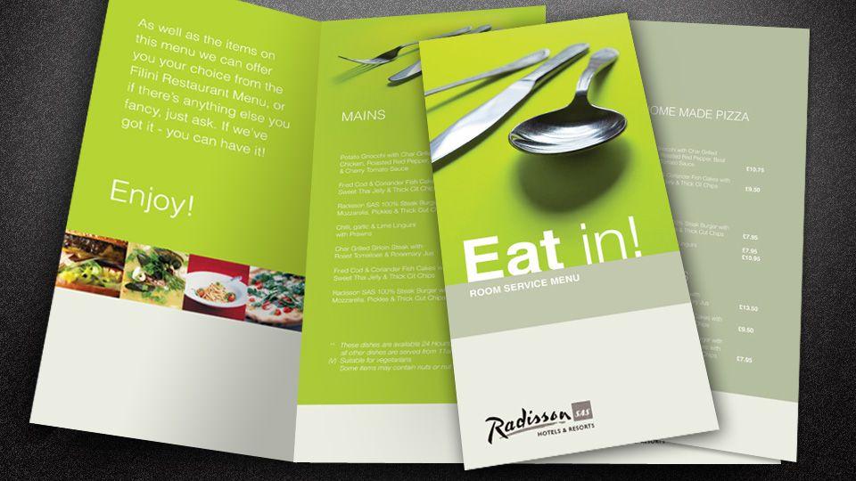Radisson Hotel Room Service Menu Menu Design Room Service Hotel Branding