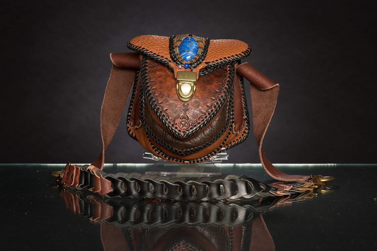 Leather Shoulder Bag Purse with Micro Macrame Inlay от Elquino