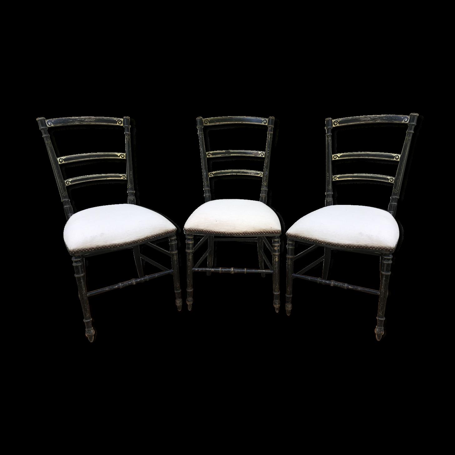 Style De Chaises Anciennes série de 3 chaises anciennes style napoléon iii bois noir et