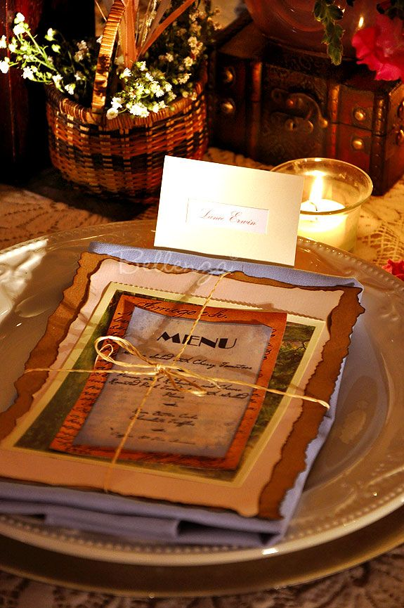 Menu card packet on napkin - for vintage travel wedding table setting