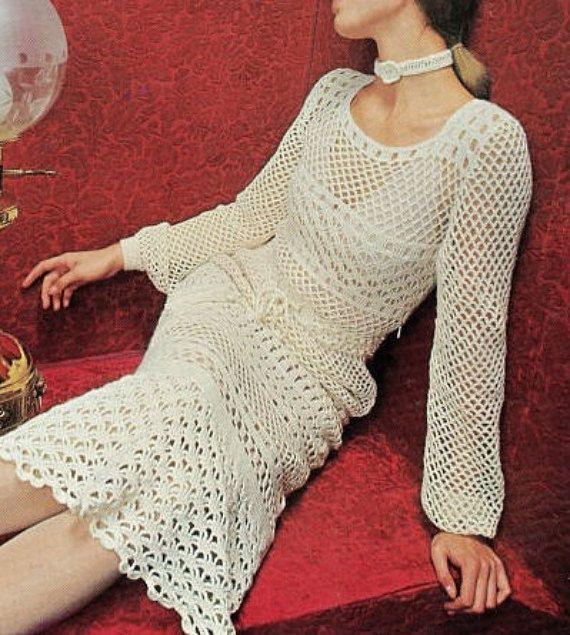 Crochet DRESS Pattern Vintage 70s Crochet Wedding Dress | Crochet ...