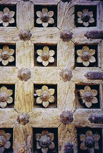 Flowers on a door in Rajasthan