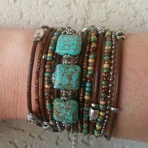 Unique Wrap Bracelet – Best Turquoise Bracelet – Modern Rustic Wrap – Best Womans Bracelet -BurningMan Style – Best Friend Wrap