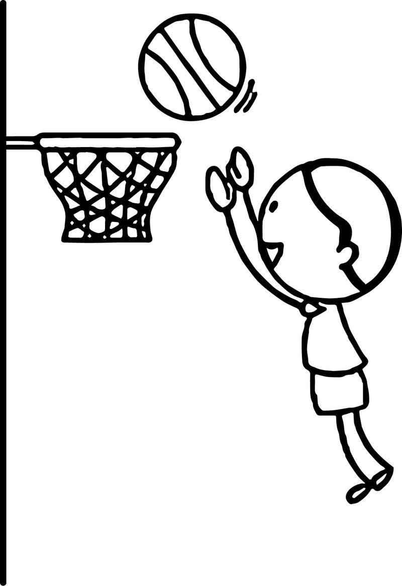 Boy Playing Basketball Jumping To Hoop Playing Basketball Coloring Page
