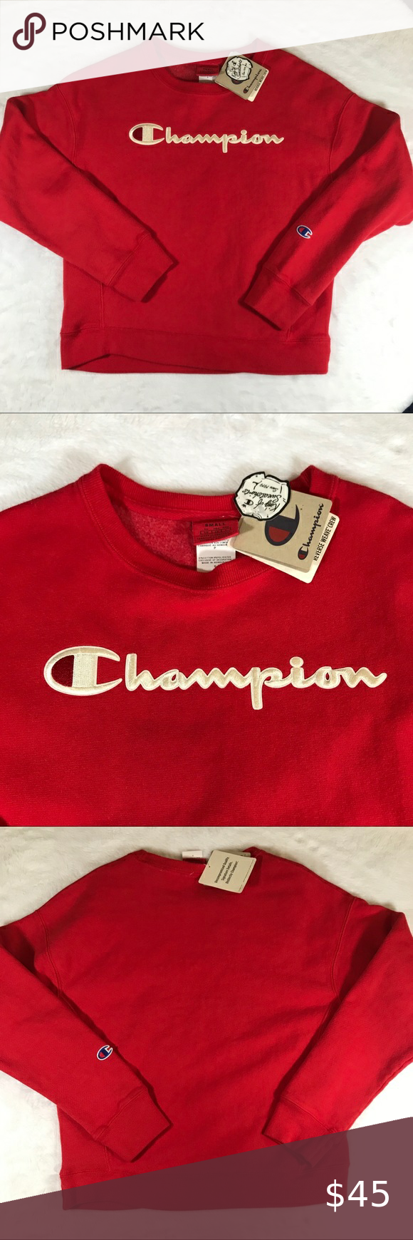 Nwt Champion Red Sweatshirt Reverse Weave Script S Red Sweatshirts Sweatshirts Sweater Hoodie [ 1740 x 580 Pixel ]