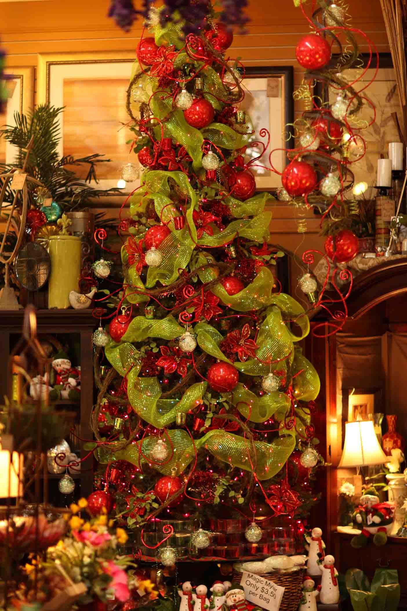 Fun Red Lime Green Christmas Idea Tree Christmas Tree Decor