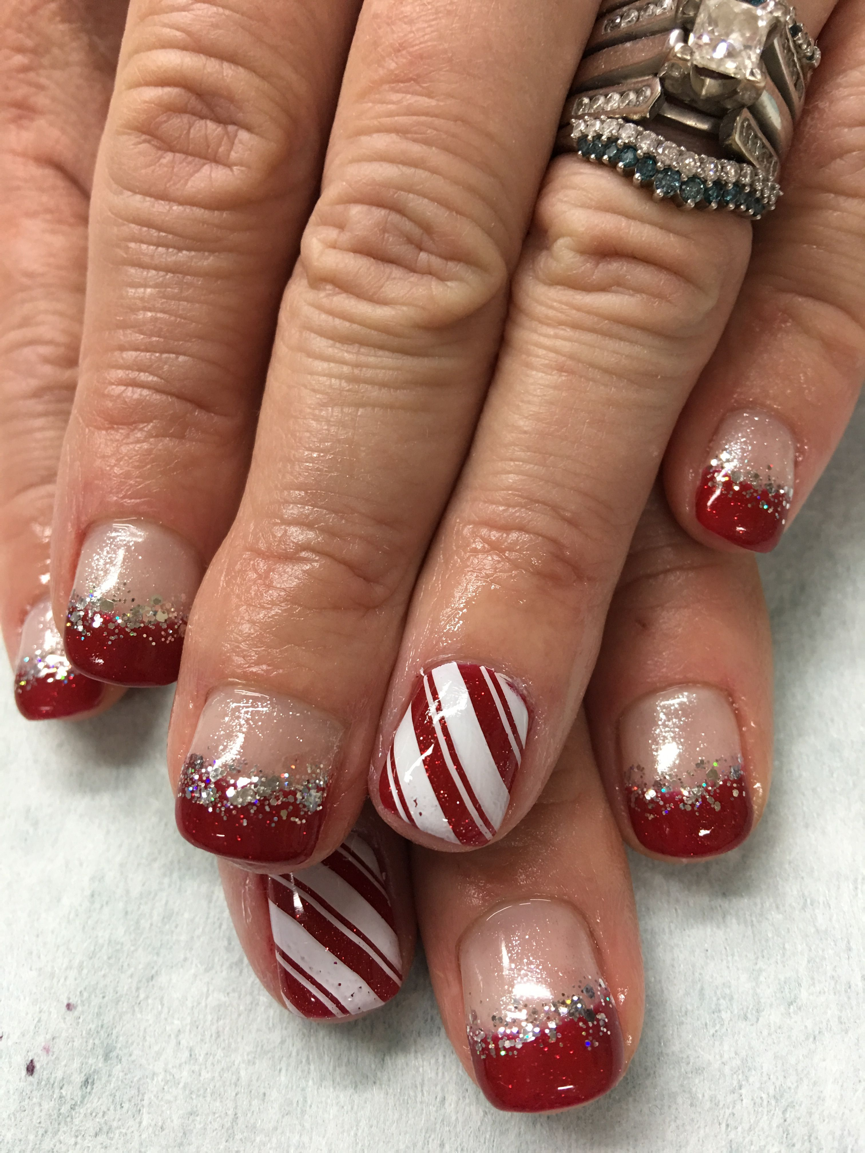 Christmas Red & Glitter Stamped CandyCane Stripes French gel nails ...