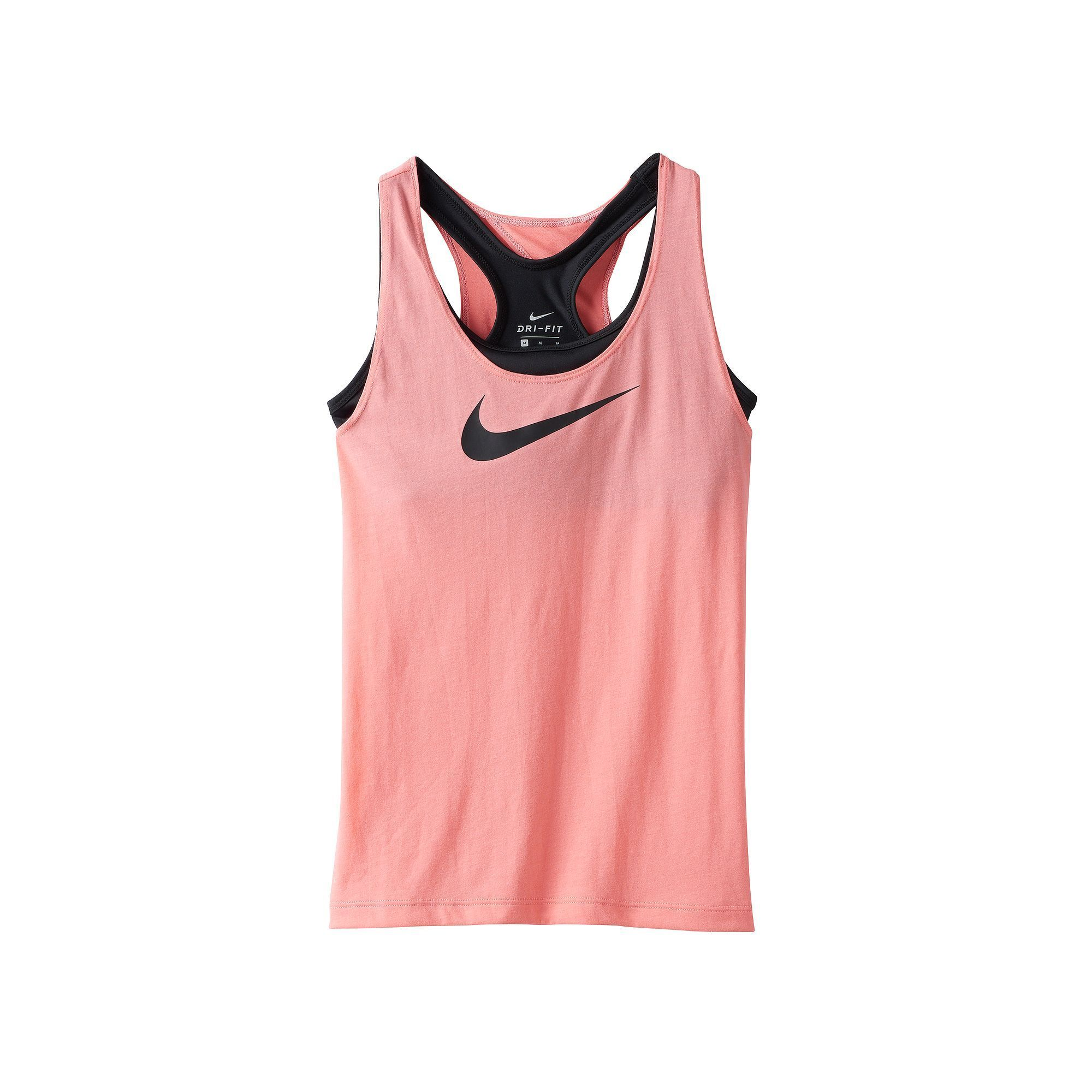 5ab843b6a6d53 Girls 7-16 Nike Swoosh Built-In Sports Bra Racerback Tank Top ...