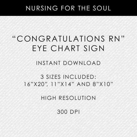 Nurse Eye Chart - Congratulations RN Eye Chart - Printable Nurse Eye