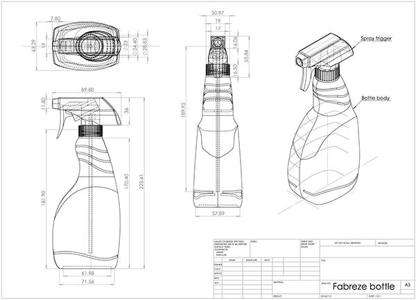 orthogonal projections bottle