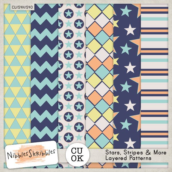 Stars Stripes  More Patterns by Nibbles Skribbles CU/Commercial