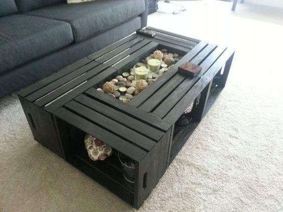 Tavolini In Legno Fai Da Te : Tables basses réalisées avec des cagettes en bois idées