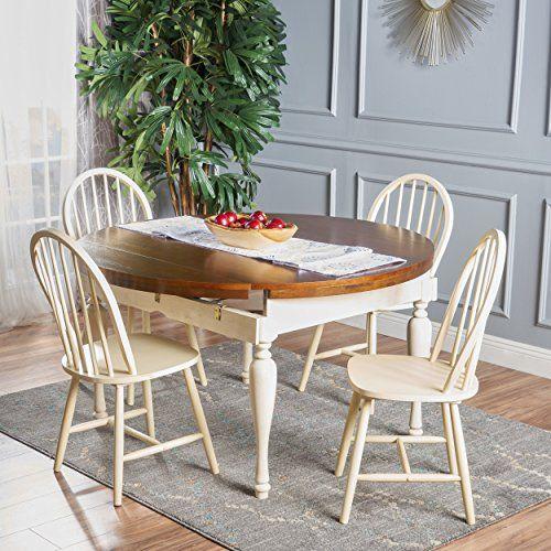 Antique White Dining Room Custom Oakley 5 Piece Dark Oak And Antique White Dining Set  Furniture Inspiration Design