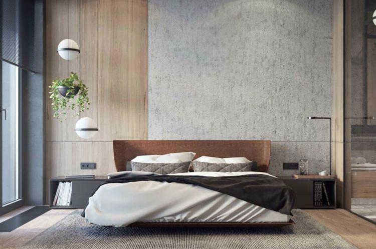 schlafzimmer wandgestaltung holzverkleidung akzent beton