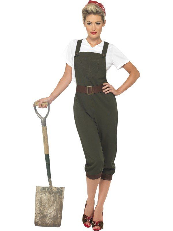 Ladies WW2 Land Girl Fancy Dress World War 2 Wartime Outfit 1940s Army Costume